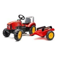 FALK - Tracteur a pédales Supercharger rouge avec capot ouvrant et remorque inclus