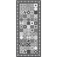 FARO Tapis 100% vinyle - Motif carreaux de ciment - 49,5 x 112,5 cm - Epaisseur 1.5mm - Noir et Blanc