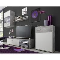 HIT Meuble TV mural contemporain gris effet béton et blanc - L 226 cm