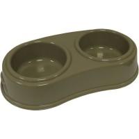 AIME Gamelle double - Ecuelle en plastique - 2 x300 ml - 30 x 17 x 6 cm - Pour chat et chien