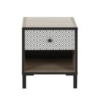 MANILLE Table de Chevet industriel avec tiroir- Décor chene noisette et noir - L 35 cm