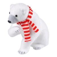 AUTOUR DE MINUIT Ours asssis avec écharpe blanc et rouge - H 29cm