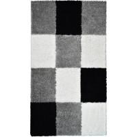 NORA Tapis de couloir shaggy - 80 x 140 cm - Noir a carreaux