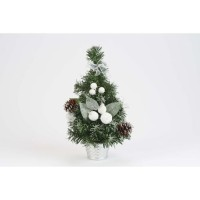 Sapin de table déco en PVC - H 30 cm - Blanc