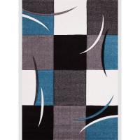 DIAMOND Tapis de salon - Bleu turquoise, gris, noir - 120 x 170 cm