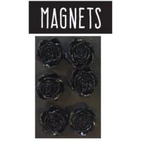 EMOTION Lot de 6 magnets en forme de rose - Noir