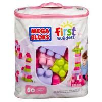 MEGA BLOKS - First Builders - Sac Medium Rose - 60 blocs de construction - 1 an et +