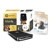HP Coffret Sprocket Plus Noire avec 2 packs de papier Zink 20 feuilles