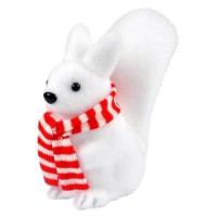 AUTOUR DE MINUIT Ecureuil avec écharpe blanc et rouge - H 20cm
