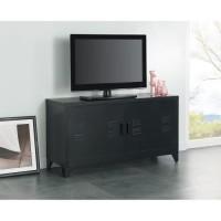 LIVERPOOL Meuble TV métal noir - L 119 x P 40 x H 63 cm
