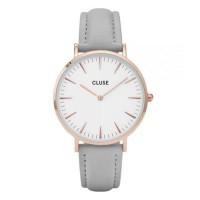 Cluse Montre CL18015 La Boheme Femme 38mm Bracelet Cuir Gris Boitier Metal Or Rose Quartz