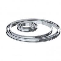DE BUYER Cercle a tarte aux bords roulés perforés - Inox - Diametre : 22 cm - Hauteur : 2 cm