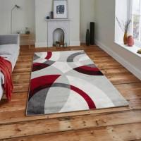 GALA Tapis de salon en polypropylene - 160 x 230 cm - Rouge - Motif Circulaire