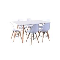 LONDON ensemble table a manger de 6 a 8 personnes L160x I90 cm + 6 chaises blanc L 46 x P 44,5