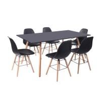 LONDON Ensemble table a manger de 6 a 8 personnes L160x I90 cm + 6 chaises noir L 46 x P 44,5