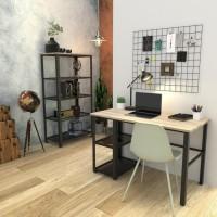 YORK Ensemble bureau en métal + bibliotheque de 5 étageres de rangement - Décor chene et noir