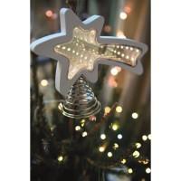 BLACHERE Cimier Etoile Filante 25 LED Blanc chaud -H 15 cmxL 20,5 x l 6,5 cm - Câble Argent Transparent 4,5V
