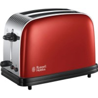 RUSSEL HOBBS 23330-56 Toaster Grille Pain Colours Plus Cuisson Rapide Uniforme Contrôle Brunissage Chauffe Viennoiserie -Rouge