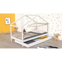 KOALA Lit cabane enfant avec tiroir - Bois pin massif - Blanc - Sommier inlcus - 90x190cm