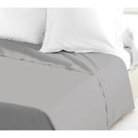 LOVELY HOME Drap Plat 100% coton 180x290 cm gris clair