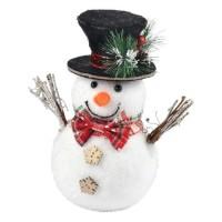 AUTOUR DE MINUIT Bonhomme de neige avec chapeau et noeud - H 21cm