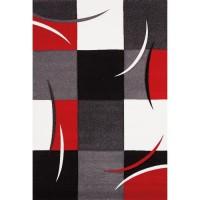 DIAMOND Tapis de salon rouge, gris, noir et blanc - 200 x 290 cm