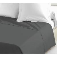 LOVELY HOME Drap Plat 100% coton 240x300 cm gris foncé