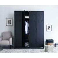 LIVERPOOL Armoire en métal noir - L 170 x P 52,4 x H 217,2 cm