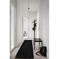 TRENDY Tapis de couloir Shaggy en polypropylene - 80 x 300 cm - Noir