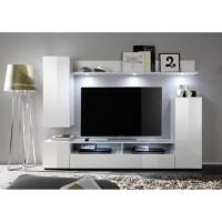 DOS Meuble TV mural contemporain blanc brillant - L 208 cm