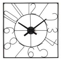 Horloge carré - Métal - 60 x 60 x épaisseur 4,5 cm - Noir