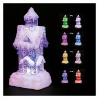 Maison Enneigée Lumineuse - 6 LED a Variation de couleurs