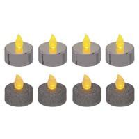 Lot de 8 bougies LED chauffe-plats - pailletées et métallisées - Argent