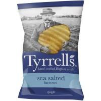TYRRELL'S Chips de pommes de terre Ondulées Sachet de Sel de mer - 150 g