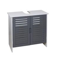 LINDA Meuble sous-lavabo L 60 cm - Blanc et gris mat