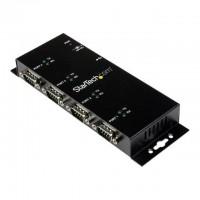 STARTECH.COM Hub adaptateur USB vers série DB9 RS232 4ports- Montage sur rail DIN industriel et mural - Adaptateur série - USB