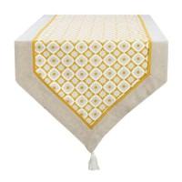 DEKOANDCO Chemin de table Camelia -45x150 cm - Finition pointe avec pompons amovibles- Imprimé jaune