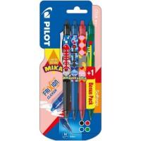 PILOT - COLLECTION MIKA - Frixion Clicker Moyen - Encre noire / bleue / rouge - x3 + 1 BONUS PACK Vert