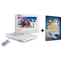 TAKARA-VR132WPK Lecteur DVD portable écran 7'' blanc + Film DVD la croisée des mondes