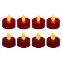 Lot de 8 bougies LED chauffe-plats - pailletées et métallisées - Rouge