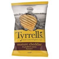 TYRRELL'S Chips de pommes de terre Ondulées Sachet de Cheddar affiné et a l'oignon mariné - 150 g