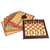 Coffret multijeux - Jeux d'échecs 12 en 1 - pieces en bois