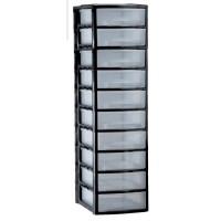 Tour A4 10 tiroirs bas - Noir - L 27 x P 36 x H 97 cm