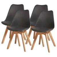 BJORN Lot de 4 chaises de salle a manger - Simili noir - Scandinave - L 49 x P 56 cm