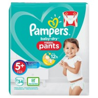 PAMPERS Baby Dry Pants Taille 5+, 12-17 kg, 34 couches culottes