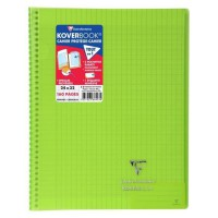 CLAIREFONTAINE - Cahier reliure avec rabats KOVERBOOK - 24 x 32 - 160 pages Seyes - Couverture polyproplylene translucide - Vert