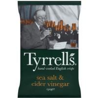 TYRRELL'S Chips de pommes de terre Lisses Sachet de Sel de mer et vinaigre de cidre - 150 g