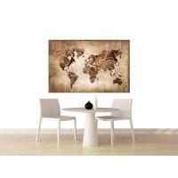 Tableau Carte du Monde - 80x50 cm - Impression sur toile - Agrafé sur châssis en pin maritime