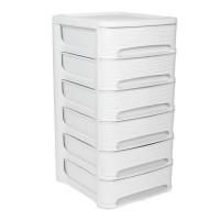 EDA PLASTIQUE Tour de rangement - Décor Stone - Avec 6 petits tiroirs de 7 L - Dimensions 32 x 37 x 62 cm - Blanc Cérusé