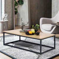 FACTO Table basse rectangle chene - Décor chene et noir - L 110 x P 60 x H 34 cm